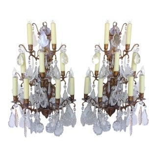 9 Light Crystal Sconces - A Pair