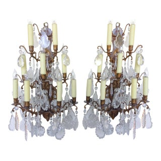 9 Light Crystal Sconces - A Pair