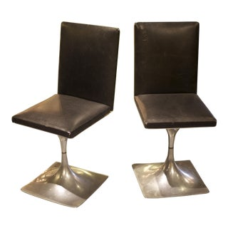 Module 400 series leather and steel chairs