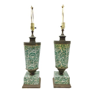 Vintage Painted Urn Table Lamps - a Pair
