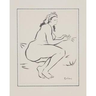 Laurent Marcel Salinas Ink Drawing - Seated Nude 8