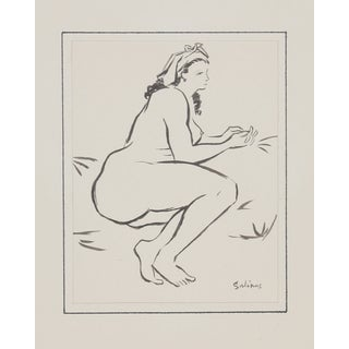 Laurent Marcel Salinas Ink Drawing - Seated Nude 8