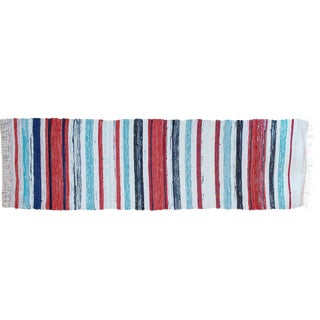 "Swedish Red & Blue Striped Rug - 7' 3"" X 2' 1"""