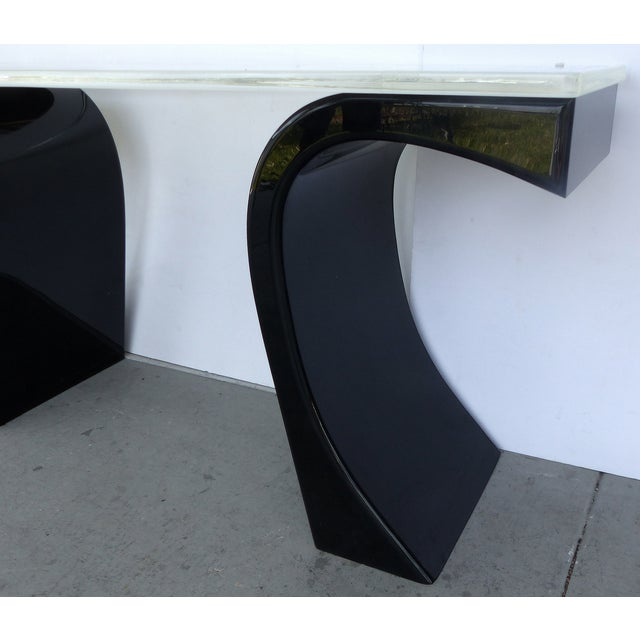 Curved Acrylic & Lucite Console - Image 5 of 6