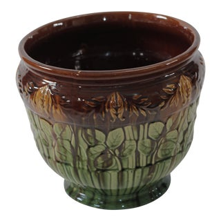 Vintage Brown & Green Ceramic Majolica Cachepot Planter Jardiniere