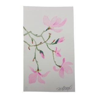 """""""Pink Magnolia 1"""" Original Watercolor Painting by Steve Klinkel"""