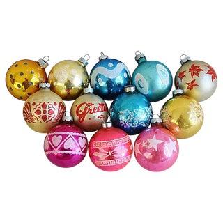 Midcentury 1960s Christmas Ornaments w/Box - Set of 12