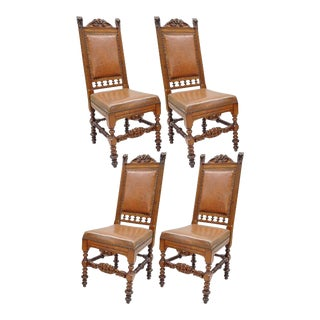 Antique Renaissance Revival Carved Lion Walnut & Brown Leather Dining Chairs - Set of 4