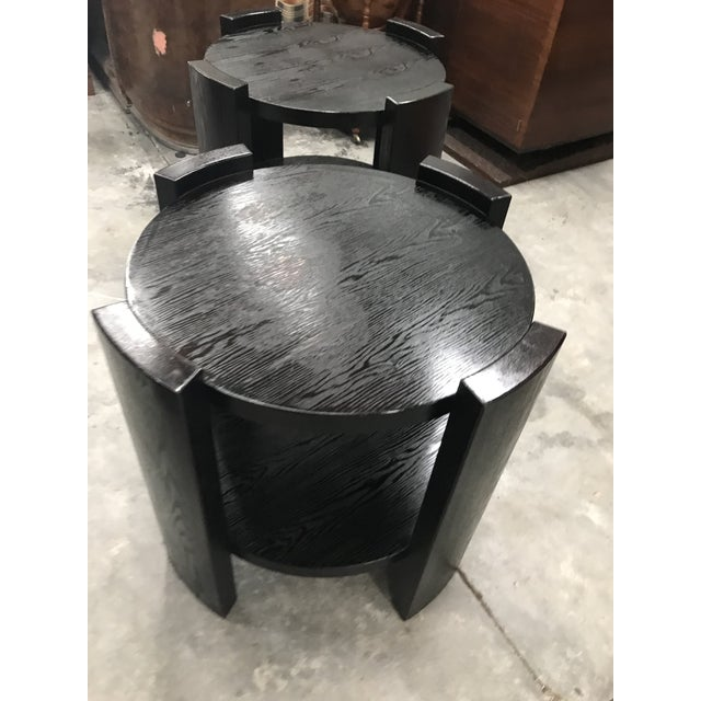 Monumental French Art Deco Solid Ebonized Cerused Oak Coffee Table Circa 1940s. - Image 7 of 11