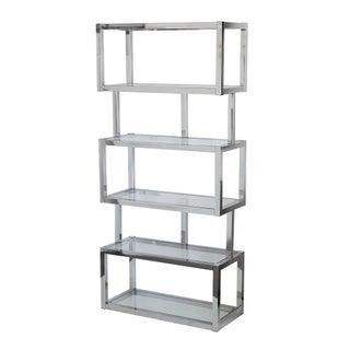 Chrome Cubist Modern Etagere Shelving Bookcase