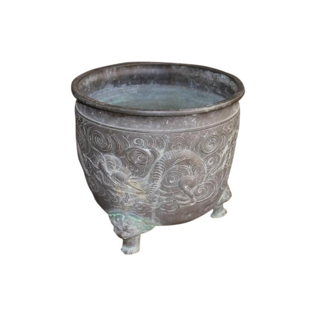 Image of Heavy Bronze Asian Pot with Claw Feet