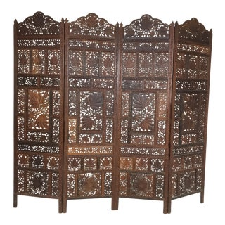 Indian Carved Teak Four Panel Screen