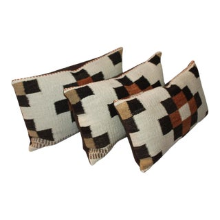 Group of Three Navajo Indian Weaving Bolster Pillows