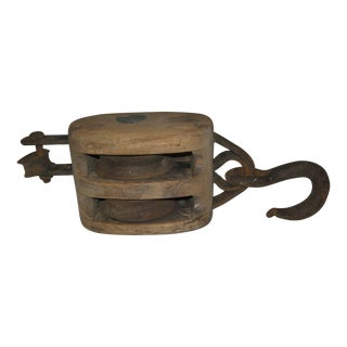 Early Wood Double Reel Pulley with Hook