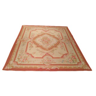 Aubusson Weave Handmade Rug Soft Rose Pink Gold Beige - 7′6″ X 9′9″ - Size Cat. 8x10