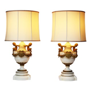 Pair of Louis XVI Style Marble and Gilt Bronze Lamps