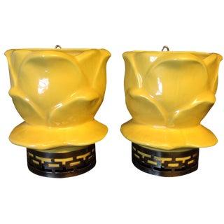 Maddux of California Yellow Wall Vases - A Pair