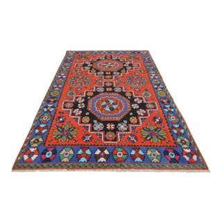 Vintage Hand Knotted Turkish Runner Rug SHINING Area Rug- 5′8″ X 9′6″
