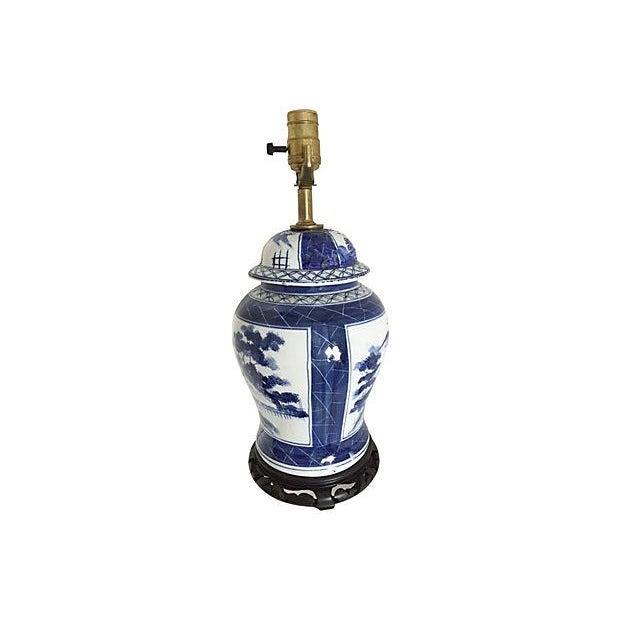 Image of Blue & White Pagoda Ginger Jar Lamp