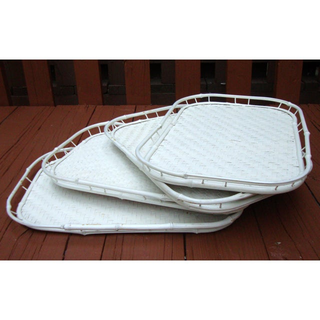 Hollywood Regency White Bamboo Rattan Trays - Image 5 of 11