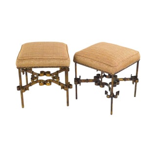 Vintage Gilt Wrought Iron Stools - A Pair