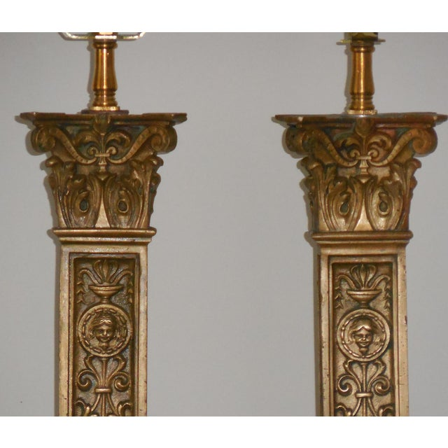 Antique Bronze Ornate Table Lamps - Pair - Image 8 of 11