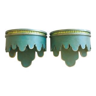 Green & Gold Beaded Shelf Brackets - A Pair