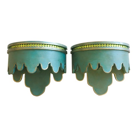 Image of Green & Gold Beaded Shelf Brackets - A Pair