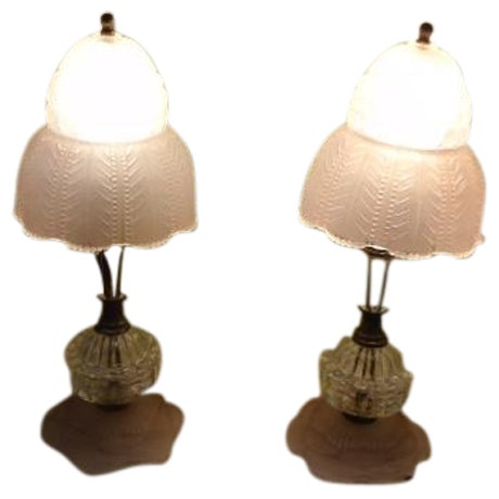 Art Deco Glass Table Lamps - Pair - Image 1 of 9