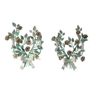 Vintage Italian Porcelain Roses Tole Sconces - a Pair