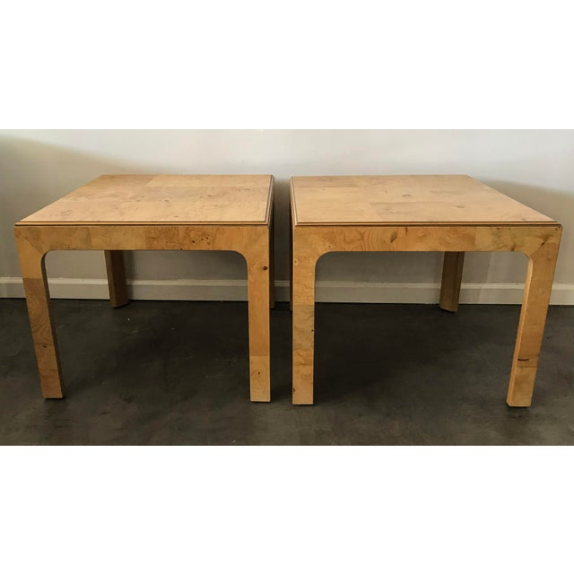 Henredon Scene Two Burl Olive Wood Side Tables - A Pair - Image 4 of 4