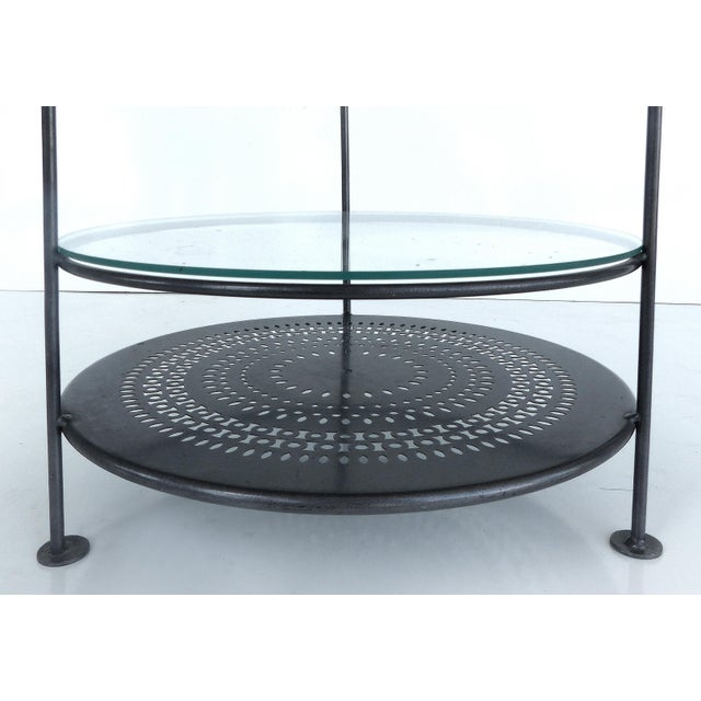 Image of French Enameled Iron Bi-Level Bar Side Table