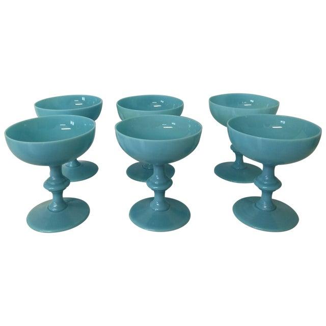 Aqua Antique Opaline Champagne Glasses - Set of 6 - Image 1 of 4