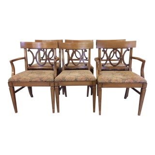 Regency Style Wood Dining Chairs with Brass Accents - A set of 6