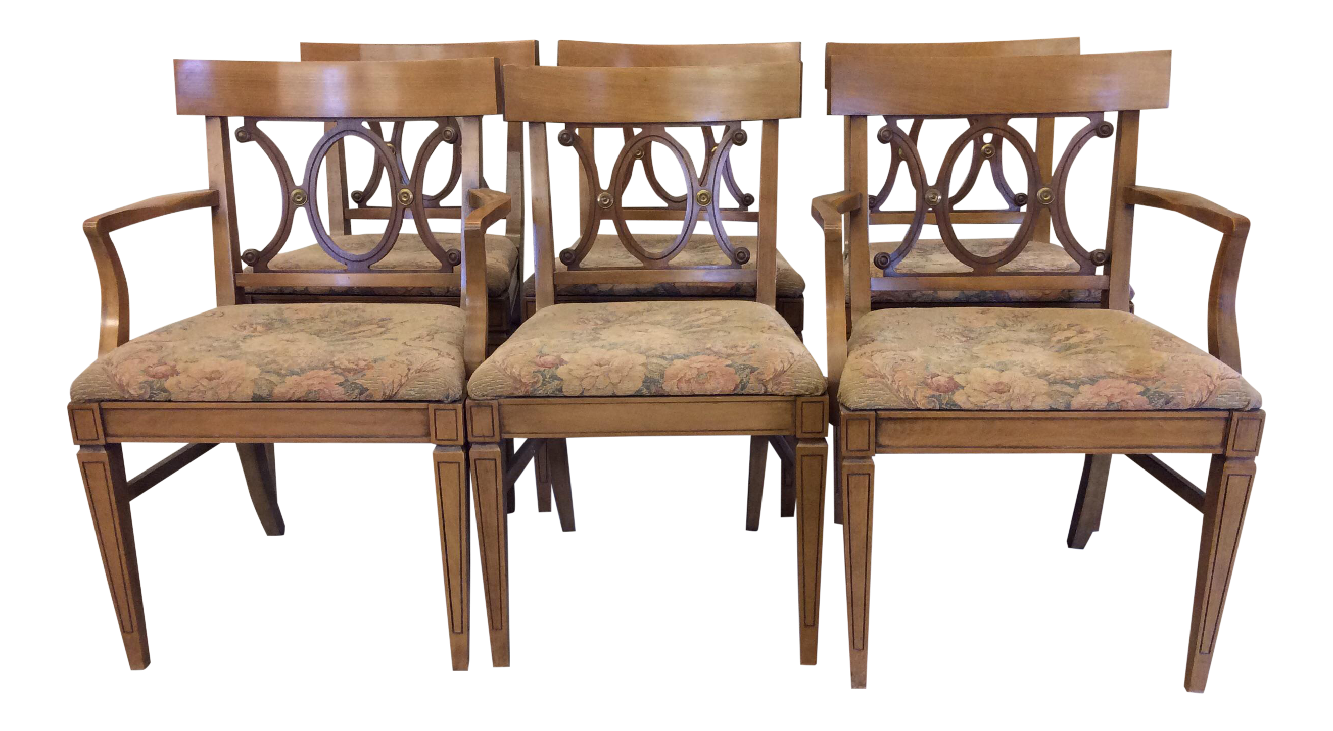 Regency Style Wood Dining Chairs With Brass Accents   A Set Of 6