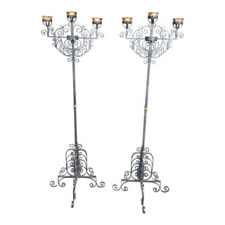 Wrought Iron Mission Spanish Style Floor Candlebra- A Pair