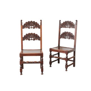 Spanish Colonial Carved Side Chairs - A Pair