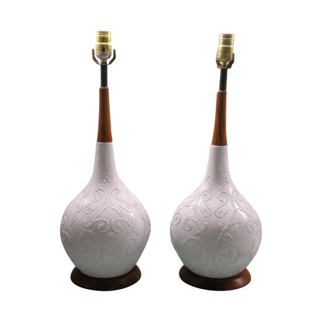 Ceramic and Teak Lamps - A Pair - Image 1 of 4