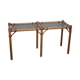 Vintage Faux Bamboo Console Table