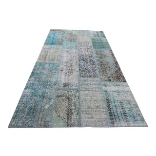 Vintage Turkish Overdyed Patchwork Oushak Rug - 4′3″ × 9′11″