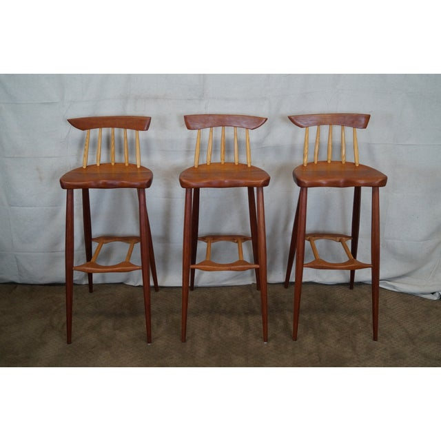 wood atomic style bar stools set of 3 chairish. Black Bedroom Furniture Sets. Home Design Ideas