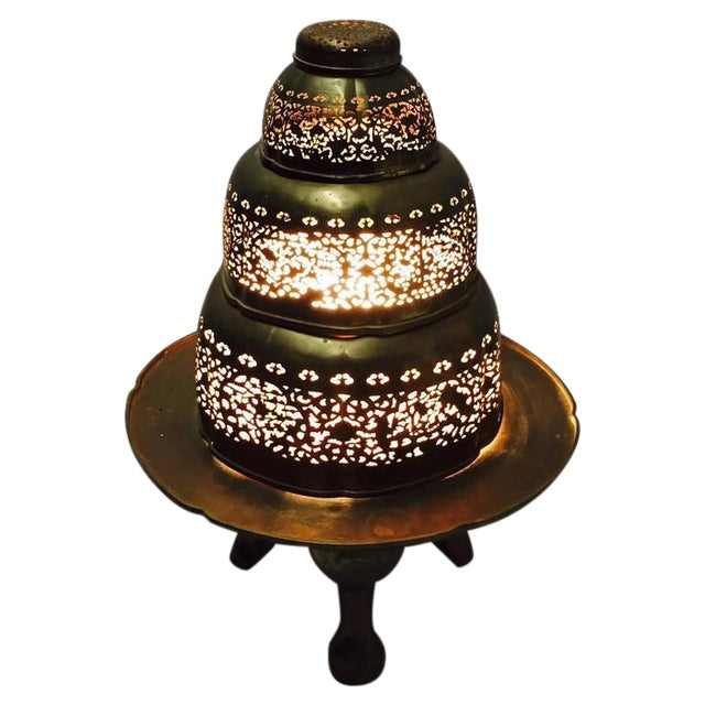 Vintage Morrocan Pierced Brass Floor Lamp - Image 1 of 6