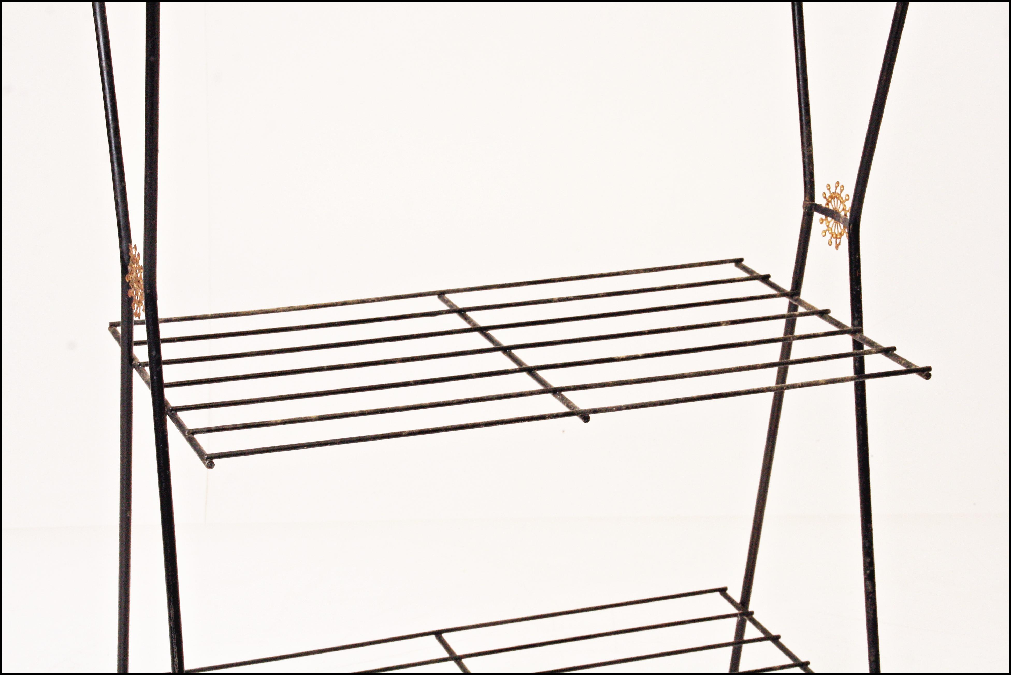 midcentury black 3tier wire plant stand image 3 of 11