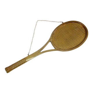 Vintage Brass Tennis Racket Wall Hanging