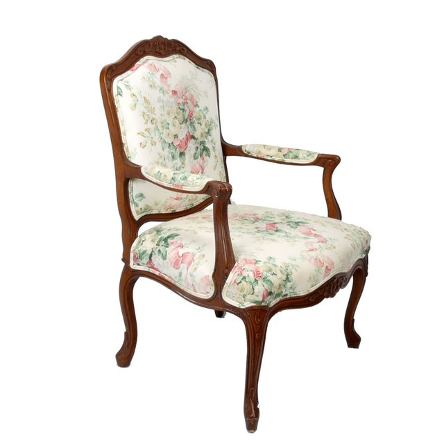 Hollywood Regency-Style Wood Arm Chair - Image 3 of 10