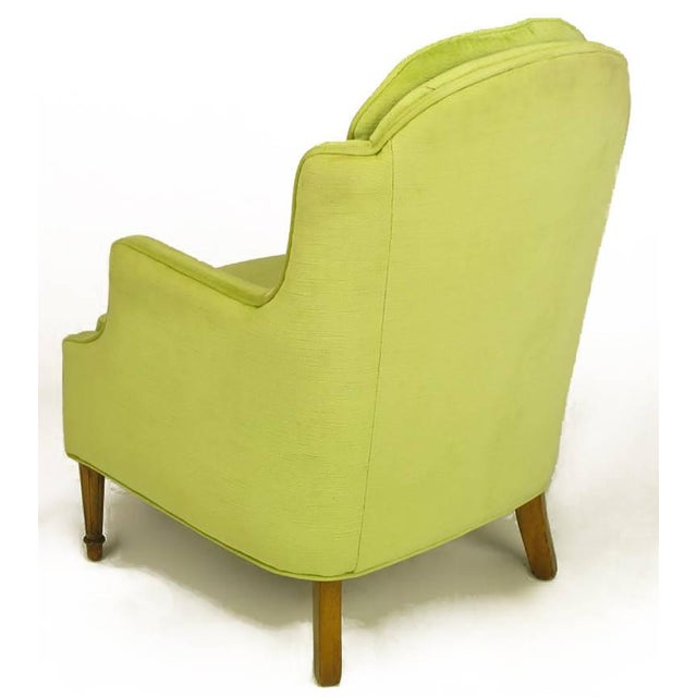 Pair of Chartreuse Yellow-Green Velvet Regency Lounge Chairs - Image 6 of 9
