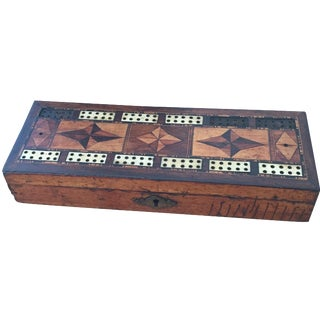 Antique Bone Inlay Cribbage Game Folk Art Box