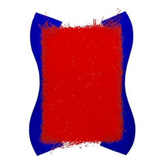 Blue & Red Modern Composition Lithograph