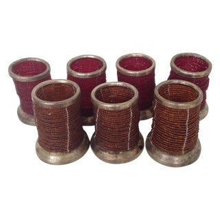 Beaded Votive Candleholders - Set of 7