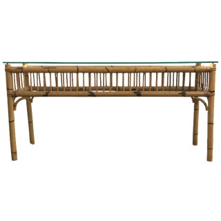 1970s Bamboo & Glass Top Console